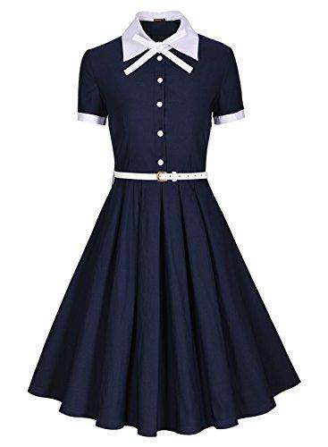 Miusol-Damen-Schulmaedchen-Revers-mit-Schleife-Marine-Stil-Rockabilly-Cocktailkleid-Business-80er-Jahr-Kleid-Blau-GrL