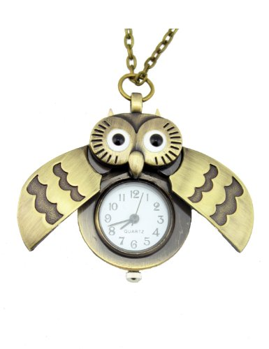 New Vintage Fashion Antique Cute Owl Pocket Watch Pendant Necklace Gift Punk