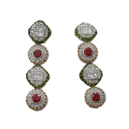 C.Z. (.925) STERLING SILVER ROUND MULTI COLOR RHODIUM PLATED EARRINGS (Nice Holiday Gift, Special Black Firday Sale)