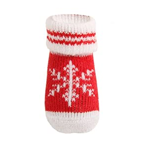 Puppia Small Snowflake Print Dog Socks, Red, Set of 4