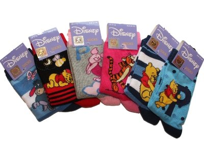 New Girls Official DISNEY WINNIE THE POOH Kids Character Cartoon Cotton Rich Ankle Socks in Mixed Design 6 Pair Pack UK Sizes 3-5 / 6-8 / 9-12 / 12-3