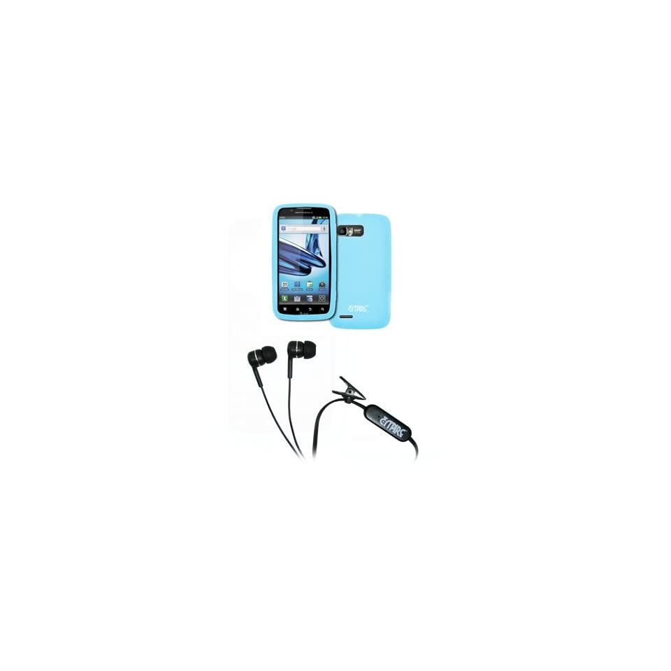 EMPIRE Motorola Atrix 2 Light Blue Silicone Skin Case Cover + Stereo Hands Free 3.5mm Headset Headphones [EMPIRE Packaging]