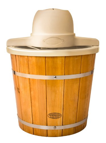 Nostalgia Electrics ICMP400WD Old Fashioned Ice Cream Maker, 4-Quart, Brown