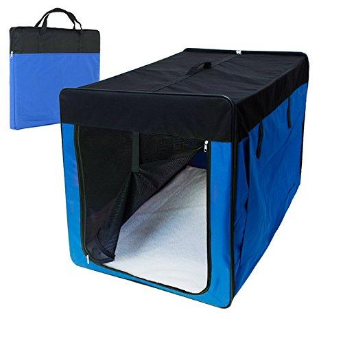 ECD-Germany-Klappbare-Transportbox-fr-Hund-und-Katze-XXL-1060-x-710-x-810-mm-inkl-Polster-aus-Lammfellimitat-Blau-Hundebox-Hundetransportbox-Autobox-Transporthtte