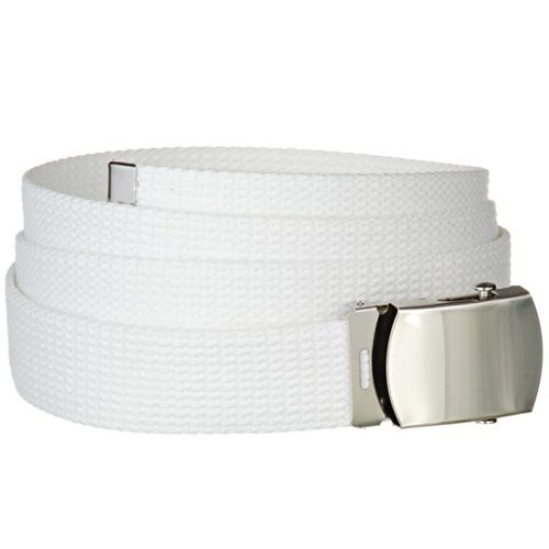 White One Size Canvas Military Web Belt With Silver Slider Buckle