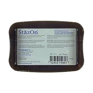 Tsukineko SZ000031 Full-Size StazOn Multi-Surface Inkpad, Jet Black (3-(Pack)) (Tamaño: 3-(Pack))