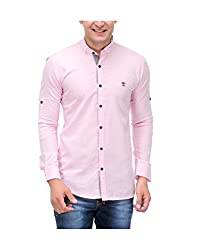 Nexq Men's Slim Fit Linen Casual Shirt (N51142_Pink_Large)