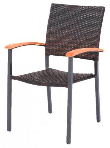 gartenstuhl stapelstuhl poly rattan dunkelbraun kaufen. Black Bedroom Furniture Sets. Home Design Ideas