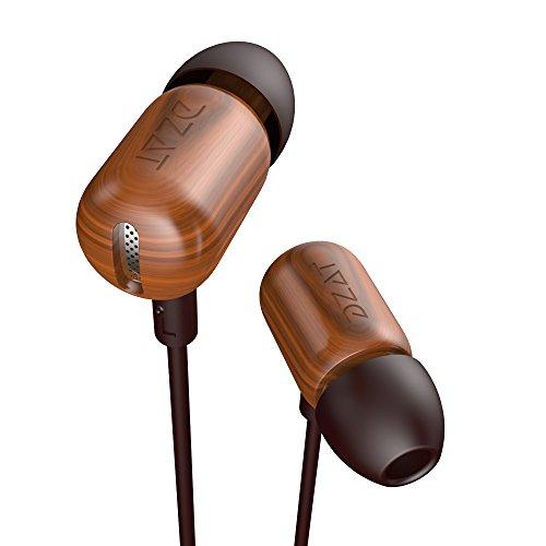 AIKAQI 木製 イヤホン カナル型 ステレオ ヘッドホン 高音質 高遮音性 音楽再生/停止が可能 マイク付き スマホ用 ヘッドフォン DF-10 ブラウン