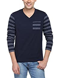 PepperClub Men's Cotton V-Neck Full Sleeve Tshirt With Striped Sleeves And Pocket