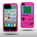 "Iprotect ORIGINAL APPLE IPHONE 4 / 4S GAMEBOY RETRO SILIKONH�LLE MIT KN�PFEN IN PINK / LILA // CASE TASCHE H�LLEvon ""iprotect"""