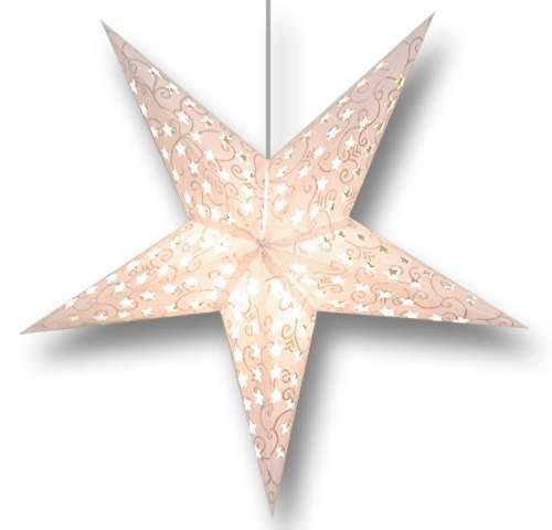 "Glitter White Swirl 5 Point Paper Star Lantern With 12"" White Electric Cord Slgsw"