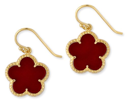 Simulated Coral Flower Gold Vermeil Stud Earrings (Nice Holiday Gift, Special Black Firday Sale)