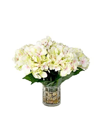 Creative Displays Hydrangea River Rock Water Vase, Off White/Green/Natural