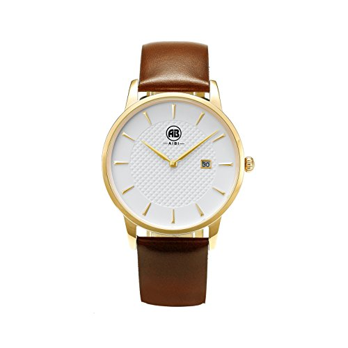 AIBI-Gold-Ultra-thin-Unique-Mens-Dress-Watches-with-Brown-Leather-Band