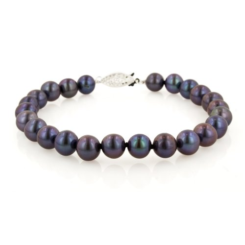 Sterling Silver Dyed Peacock Black Freshwater Cultured Pearl A Grade 6.5-7mm Bracelet, 7.25