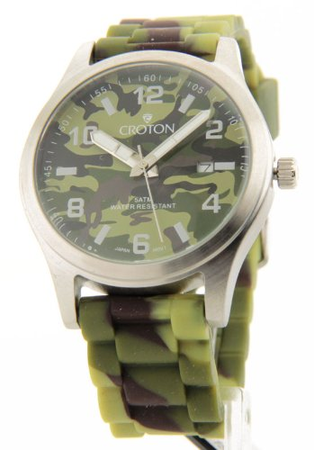 Croton Men's CA301234GRGR All Stainless Camouflage Dial Date Watch