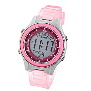 Como Girls Children Digital LCD Wrist Sports Alarm Watch Stopwatch Pink