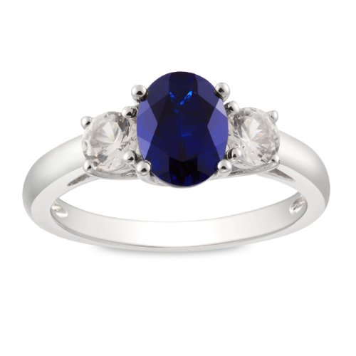 Sterling Silver 2 5/8 CT TGW Created Sapphire and Created White Sapphire Fashion Ring