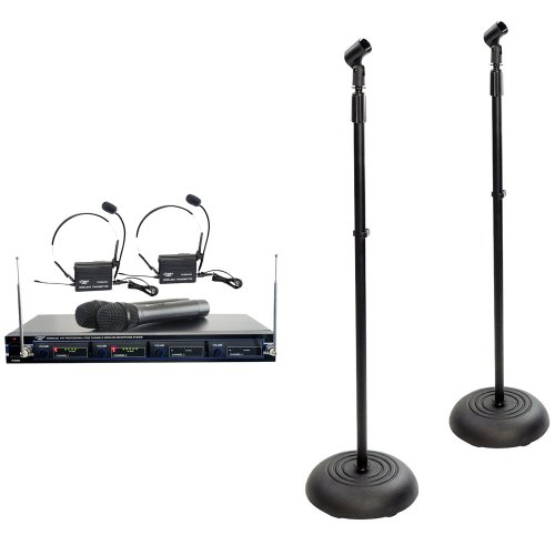 Pyle Mic And Stand Package - Pdwm4300 4 Mic Vhf Wireless Rack Mount Microphone System - X2 Pmks5 Compact Base Black Microphone Stand