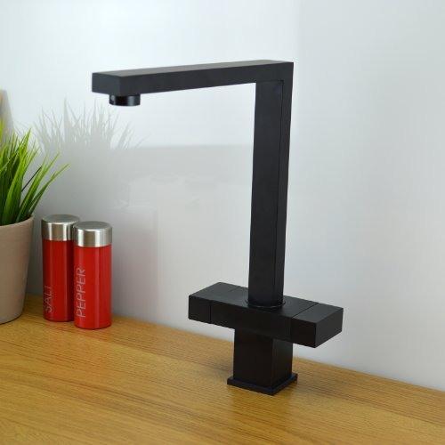Ultra Modern Square Designer Versare Style Kitchen Sink Mixer Tap Black VENICE