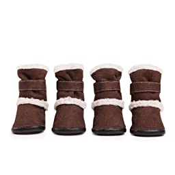 East Side Collection Faux Suede Classic Sherpa Dog Boot with Rubber Sole, X-Small, Chocolate