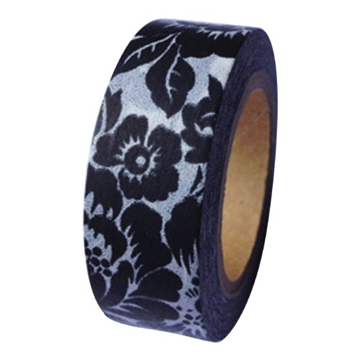 Dress My Cupcake DMC41WT649 Washi Decorative Tape for Gifts and Favors, Large Black Floral Print