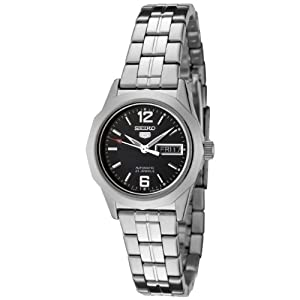 Seiko Women's SYMH71 Seiko 5 Automatic Black Dial Stainless Steel Watch