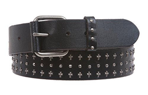 "1 1/2"" Snap On Riveted Chritian Religious Cross and Circle Studded Leather Belt Size: L - 39 Color: Black"