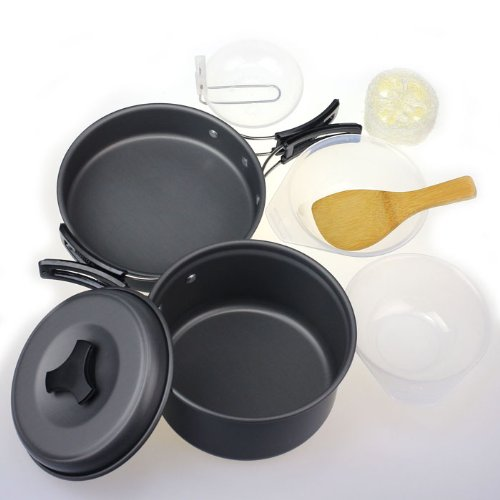 Amjimshop Vovotrade(Tm) 8Pcs Outdoor Camping Hiking Cookware Backpacking Cooking Picnic Bowl Pot Pan Set