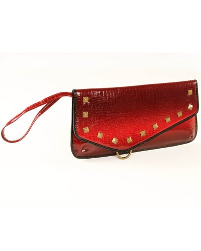 Vintage Insp Red Studded Clutch