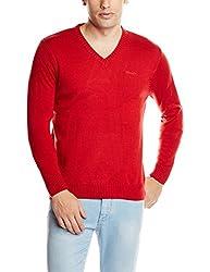 Wrangler Men's Acrylic Sweater (8907222258436_WRSW2251_X-Large_Mars Red)