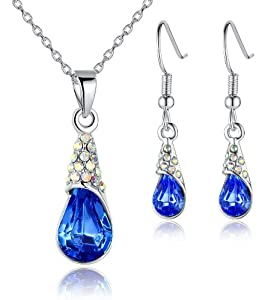 Raindrop Crystal Pendant Necklace and Earrings Set for Women Blue - 3016411