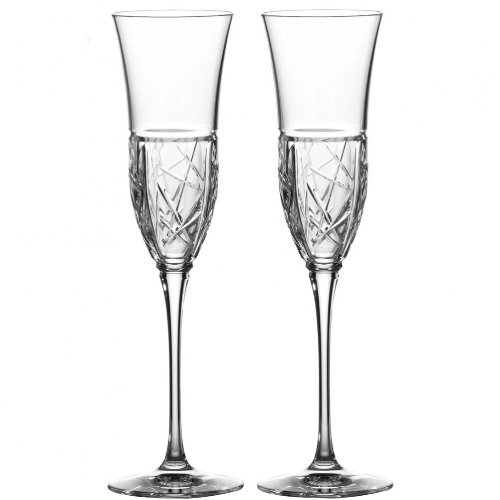 Waterford Crystal London 2012 Pair Of Crystal Champagne Flutes