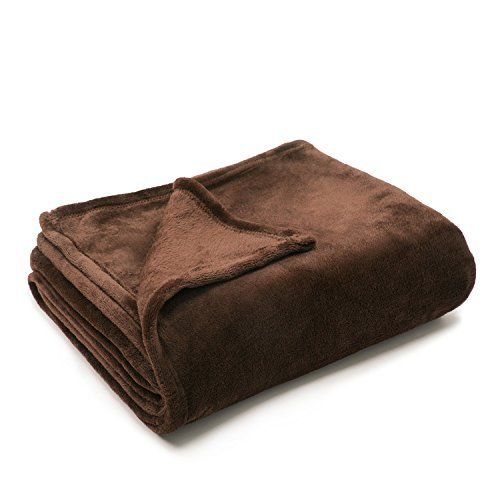 "Sofantex Super Soft Reversible Light Weight Cozy Plush Blanket/Throw, 50"" L x 60"" W, Brown"
