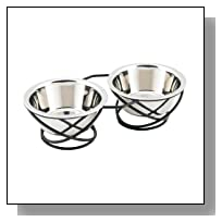 Buddy's Line Spring Style Double Diner Pet Bowl, Black Iron Base, 8 Ounces
