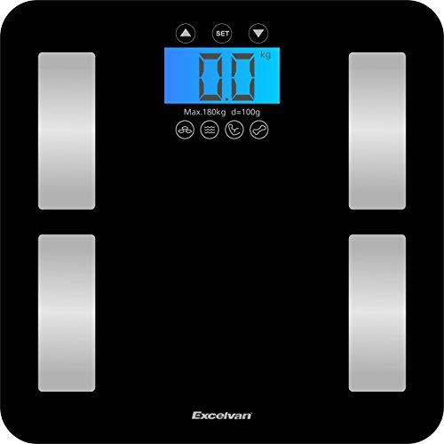Excelvan Tocca 400lb Bilancia Diagnostica Misure fino a 7 Parametri del Peso Corporeo, Indice di Massa Corporea, Grasso, Acqua, Calorie, Muscolare e Massa Ossea
