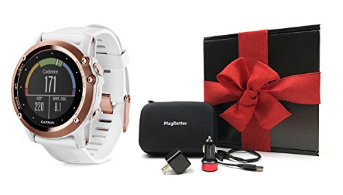 Garmin fenix 3 Sapphire (Rose Gold) GIFT BOX Bundle | Includes Multi-Sport GPS Fitness Watch, PlayBetter USB Car & Wall Adapter, USB Charging Cable & GPS Carrying Case | Black Gift Box