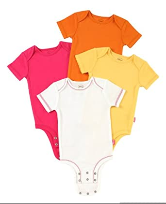 Disney Cuddly Bodysuit with Grow an Inch Snaps,  Winnie the Pooh Bold Solids 4 Pack, White/Yellow/Orange/Fuschia, 0-3 Months