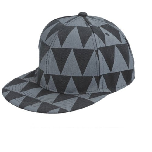 BLACK AND GREY PATTERED FLAT PEAK RAPPER CAP