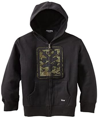 Zoo York Boys 8-20 Square Camo Hoody Tee, Black, Small