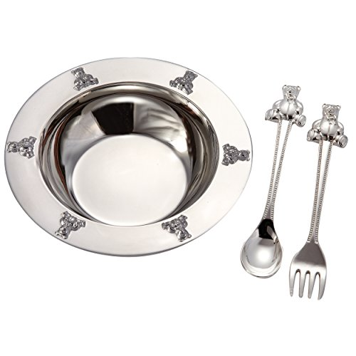 1 X Silverplated Baby Bear Bowl, Spoon, Fork Set