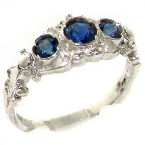 925 Solid Sterling Silver Natural Sapphire English Georgian Style Trilogy Ring - Size 11 - Finger Sizes 4 To 12 Available - Suitable As An Eternity, Engagement, Promise Or Anniversary Ring