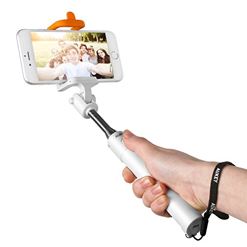 Aukey Bluetooth 自撮り棒 セルフィースティック セルカ棒 自撮りシャッターボタン付 手元でワンタッチ撮影 iPhone6S/Androidなど対応 (ホワイト)HD-P7