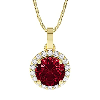 1.35ct Ruby and Diamond Gold Halo Pendant