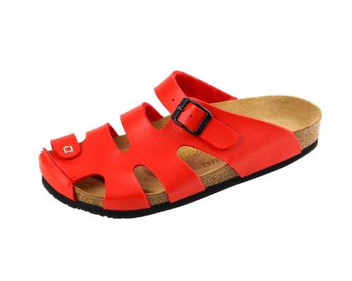 Devo Women's Stylish Stripped Closed Toe Cork Covered Summer Beach Sandal Slides