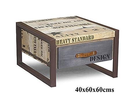 Muebles macizos impreso completamente sólida estilo Industrial Mesita baja 60x60 Mango Madera De madera maciza Hierro Fábrica #127