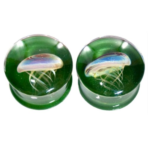 Sparkle Green Background Amber Purple Jellyfish Plugs - Hand Made Glass Double Flare - 1