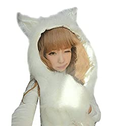 LATH.PIN Husky Faux Fur Full Animal Hood Hoodie Hat 3-in-1 Mittens Gloves Scarf Spirit Paws Ears Christmas Gift (P0002-7)