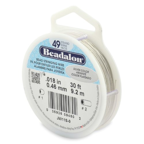 Beadalon 49-Strand Bead Stringing Wire, 0.018-Inch, Silver Color, 30-Feet (Beadalon Bead Bumpers compare prices)